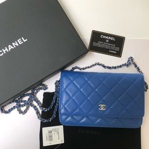 100% Authentic Blue CHANEL Wallet on Chain WOC